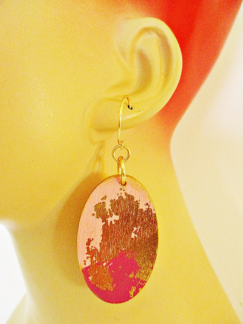 Pink Gold,Oval Shaped Wooden Earrings Burgundy