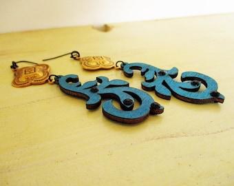 Dark Blue Wood and Brass Dangle Earrings