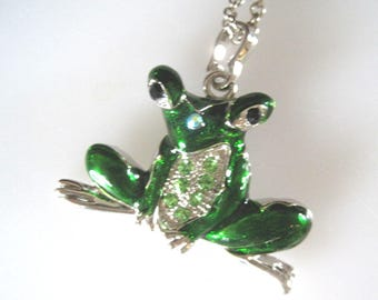 Frog Pendant Necklace. Green Enamel with green rhinestones. 26 inch. chain.