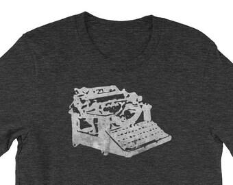 Mens graphic tee, Gift for Him, Clothing Gift, Writer Gift, Vintage Typewriter Shirt, Distressed Typewriter Tshirt