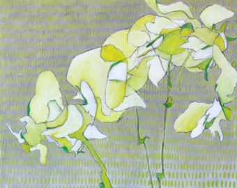 """Abstract Floral Giclee Art Print by Shelley Detton """"Orchids in Spring Green"""" Impressionist Painting White Flowers, Home Decor Art Print"""