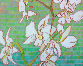 """Abstract Floral Giclee Art Print by Shelley Detton, """"White Orchids on Green"""" Impressionist Painting White Flowers, Home Decor Fine Art Print"""