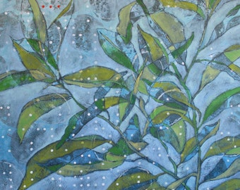 """Contemporary Botanical Giclee Art Print by Shelley Detton, """"Green Branches"""" Abstract Impressionist Painting, blue home decor fine art print"""