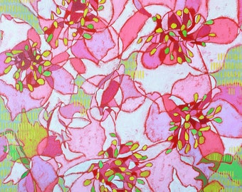 """Abstract Floral Giclee Art Print by Shelley Detton, """"Cherry Blossoms"""" Impressionist Painting, Pink Flowers, Home Decor Fine Art Print"""