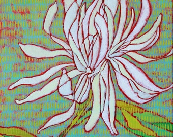 """Abstract Floral Giclee Art Print by Shelley Detton, """"White Chrysanthemum"""" Impressionist Painting White Flower, Home Decor Fine Art Print"""