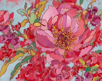"""Abstract Floral Giclee Art Print by Shelley Detton """"Peony Bouquet"""" Impressionist Painting Pink, Coral, Magenta, Purple, Home Decor Fine Art"""