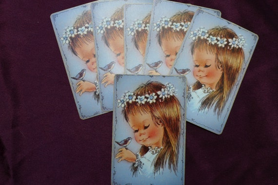 Vintage Little Girl And Bluebird Playing Cards Etsy