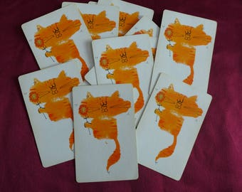 Vintage Orange Kitty Cat holding a Flower / Playing Cards