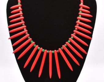 Red Spike Necklace, Red Bib Statement Necklace, Unique Gift for Women