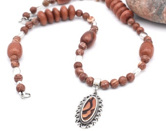 Poppy Jasper Gemstone Necklace, Goldstone Jewelry, Pendant Necklace, Anniversary Gift, Jewelry for Fall, Stainless Steel, Earthy Jewelry