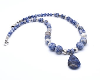 Sodalite Gemstone Necklace, Hypoallergenic Stainless Steel. Blue Pendant Necklace, Anniversary Gift, Necklace for Mom, Gift for Bridesmaid