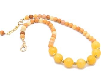 Golden Agate Gemstone Necklace, Classic Necklace, Sunshine Jewelry, Gift Idea