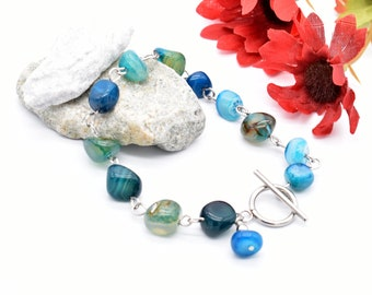 Gemstone Bracelet, Blue Green Agate Nugget Jewelry, Hypoallergenic Stainless Steel
