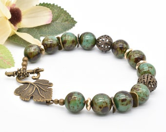 Vintage Czech Glass Green Chunky Bracelet, Large Brass Leaf Toggle, Green Beaded Jewelry For Her
