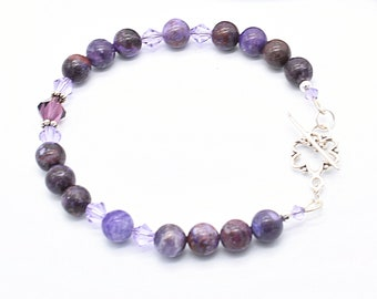 Crazy Lace Agate Gemstone Bracelet, .925 Sterling Silver Toggle Clasp,  Purple Crystal Beaded Bracelet, Handmade Jewelry For Her