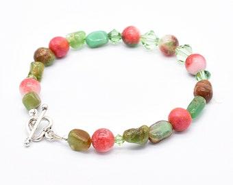 Chrysoprase Gemstone Bracelet, Sterling Silver Heart Clasp, Green and Red Bracelet, Peridot August Birthday