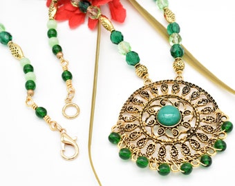 Emerald Green Necklace, Antique Gold Filigree Pendant Necklace, Bold Statement Jewelry, Anniversary Gift