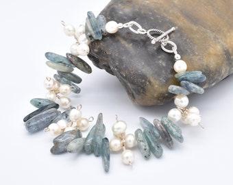 Green Kyanite Gemstone Bracelet, Sterling Silver Pearl Dangle Bracelet, Gift for June Bride, Beachy Jewelry