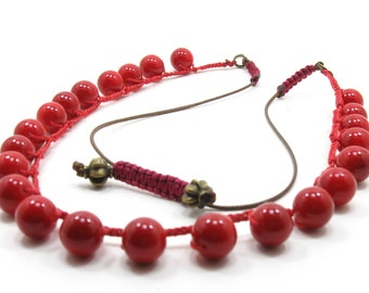 Red Bead Necklace, Long Beaded Crochet Necklace, Adjustable, Leather, GIft for Women