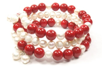 Pearl Wrap Bracelet, Red and White Jewelry, One Size Fits Most