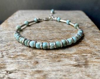 Larimar Bracelet, Hill Tribe Silver Larimar Bracelet