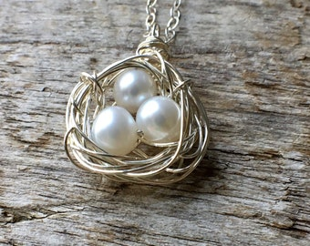 Nest Necklace, Sterling Silver Pearl Nest Necklace