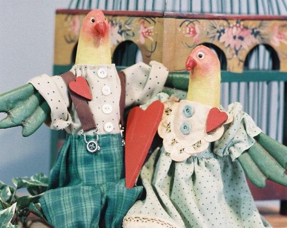 "Love Birds - Cloth Doll 16"" birds epattern"