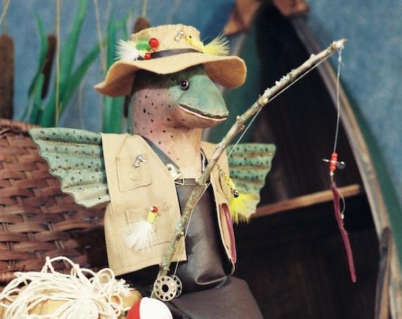 Gone Fishing - Cloth Doll E-Pattern -18 inch Fishing Trout Fish Art Doll