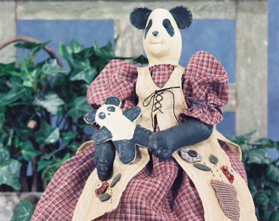 Amanda - Original Prototype Handmade Collectible Cloth Doll Girl Panda