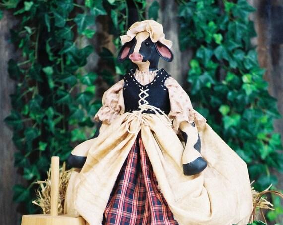The Milk Maid - Cloth Doll E-Pattern - 24in Milk Maid Cow Doll Epattern