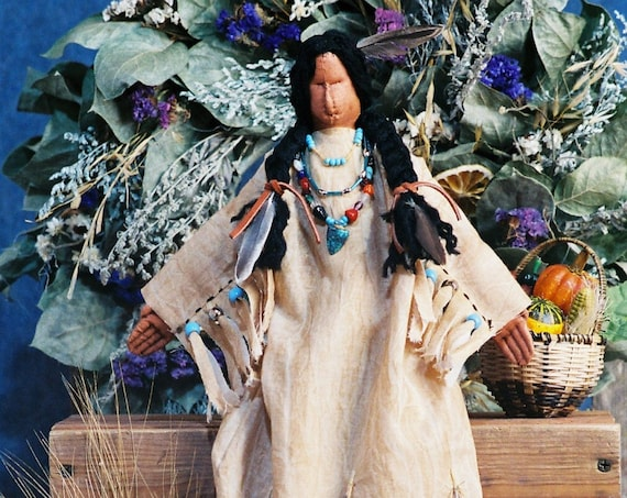 Indian Maiden - Cloth Doll E-Pattern - 20in Thanksgiving Indian Maiden