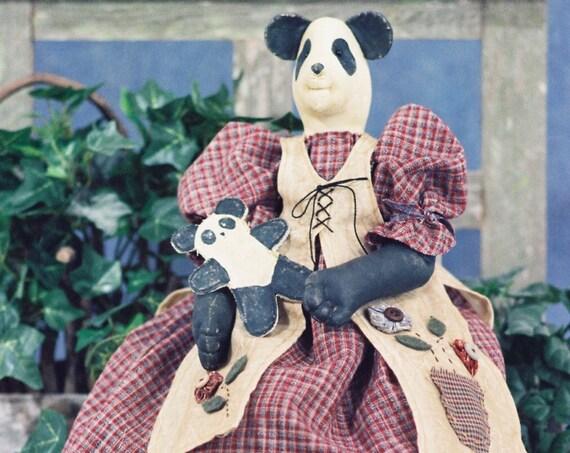Amanda- Cloth Doll E-Pattern  24in Country Girl Panda Bear Epattern