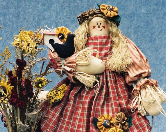 Sunflower - Cloth Doll E-Pattern  21in Country Girl Scarecrow E-pattern