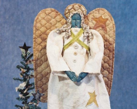 Angela - Cloth Doll E-Pattern - 24in Black Primitive Folk Art Angel Epattern