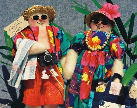The Snowbirds - Cloth Doll E-Pattern Mr & Mrs Snowman Beach Tourists EPattern