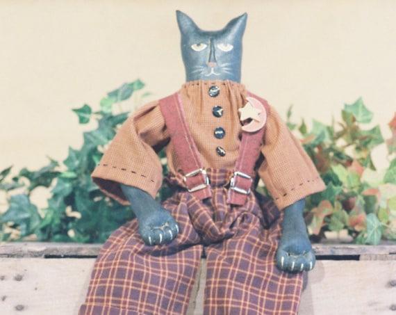 Tom Cat - Cloth Doll E-Pattern - 24in Folkart Primitive Black Male Haloween Cat