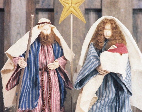 Love is Born - Mailed Cloth Doll Pattern - Christmas Nativity Free Standing Stump Dolls