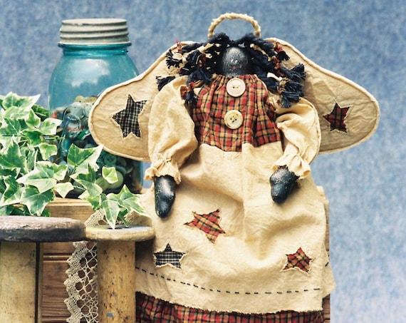 Precious - Cloth Doll E-Pattern  18in Folk Art Black Angel epattern