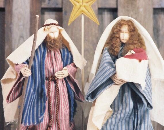 Love Is Born - Cloth Doll E-Pattern - Christmas Nativity Free Standing Stump Dolls