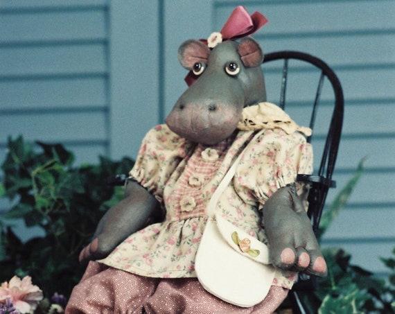 Rosebud - Cloth Doll E-Pattern - Adorable Baby Girl Hippo epattern
