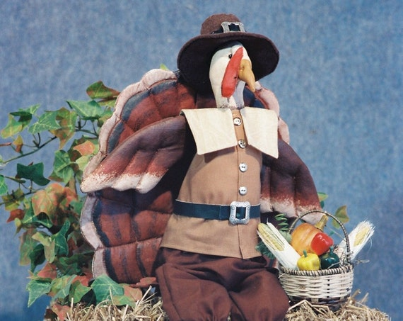 Elmer - Cloth Doll E-Pattern - Thanksgiving Pilgrim Turkey Bird Epattern