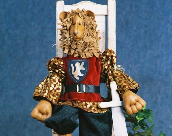 Richard the Lion Heart - Cloth Doll E-Pattern - 24 inch Royal Lion King Animal epattern