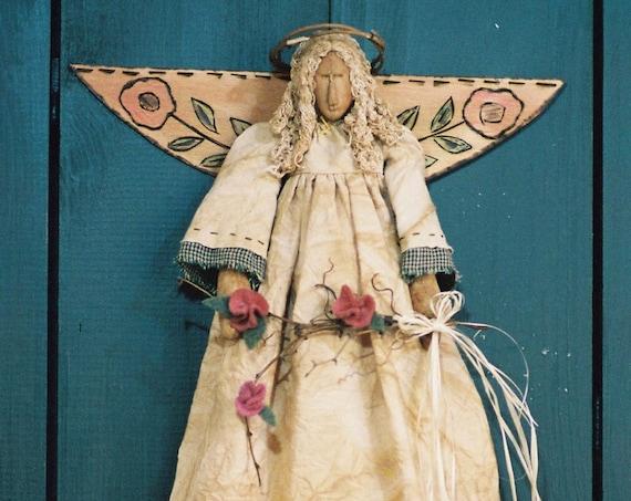 Garden Angel - Mailed Cloth Doll Pattern - 18in Victorian Garden Angel