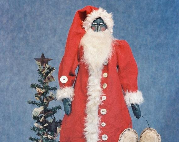 Peace - Cloth Doll E-Pattern - 24in Black Primitive Santa Epattern