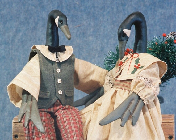 Christmas Geese - Cloth Doll E-Pattern - 20in Christmas Geese Dolls Epattern