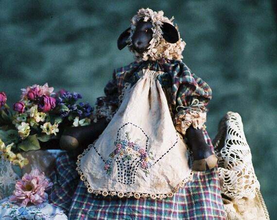 Penelope - Cloth Doll E-Pattern - 22 inch Primitive Girl Sheep Lamb