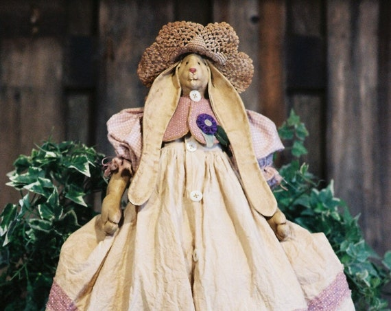 Petunia - Cloth Doll E-Pattern  24in Country Girl Bunny Rabbit