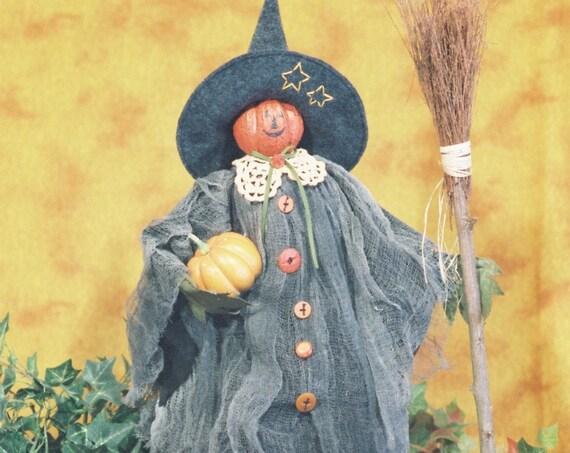 Pumpkin Witch - Cloth Doll E-Pattern- 24in Pumpkin Head Halloween Witch Epattern