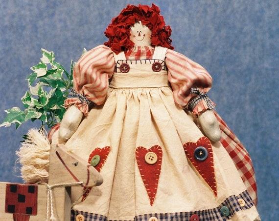 Annie - Cloth Doll E-Pattern - 23in Raggedy Ann Doll E-pattern