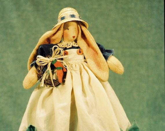 Corynn - Cloth Doll E-Pattern- Country Girl Bunny Shelf Sitting doll Epattern